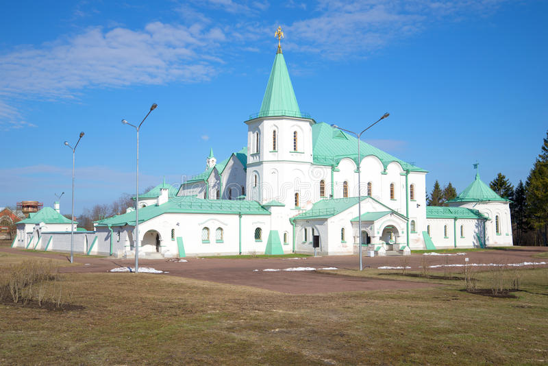 Old white Ratna house, sunny april day. Tsarskoye Selo. Russia royalty free stock image