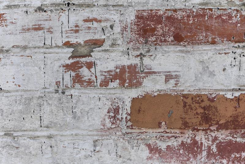 Old white roughly created brick wall painted white plaster, close up, copy space royalty free stock photos