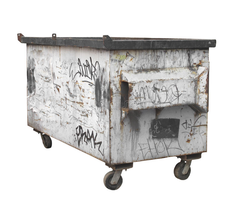 Old white rusty garbage dumpster isolated. Old, rusty, and worn metal white commercial garbage dumpster bin on wheels. Isolated on white stock photography