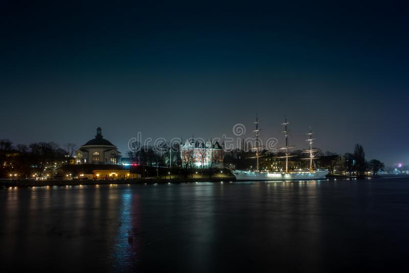 An old white sailing ship  in Stockholm at night. 1 royalty free stock photography