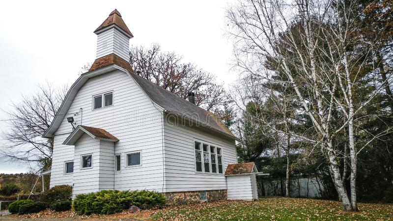 Old White School House Church stock photography