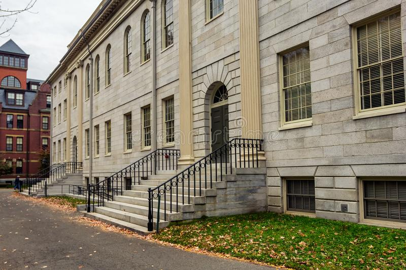 Old white university building in Harward yard royalty free stock photography