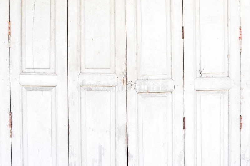 Weathered White Wooden Door With Hinges Textured