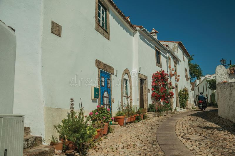 Old whitewashed houses and flowered shrubs in cobblestone alley royalty free stock photography