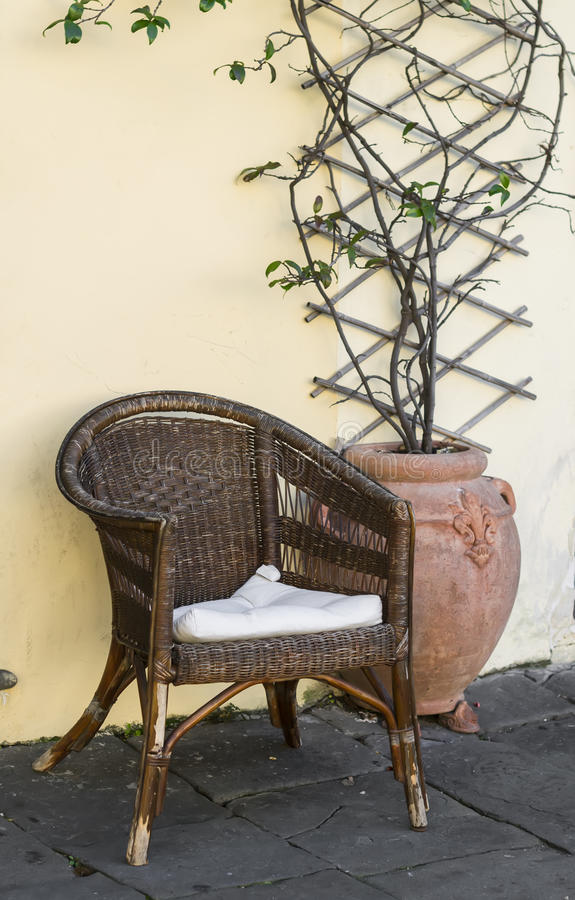Download Old Wicker Rattan Chair And The Flower In Ceramic Vintage Pot  Against The Yellow Wall. Old Wicker Rattan Chair And The Flower In Ceramic Vintage Pot