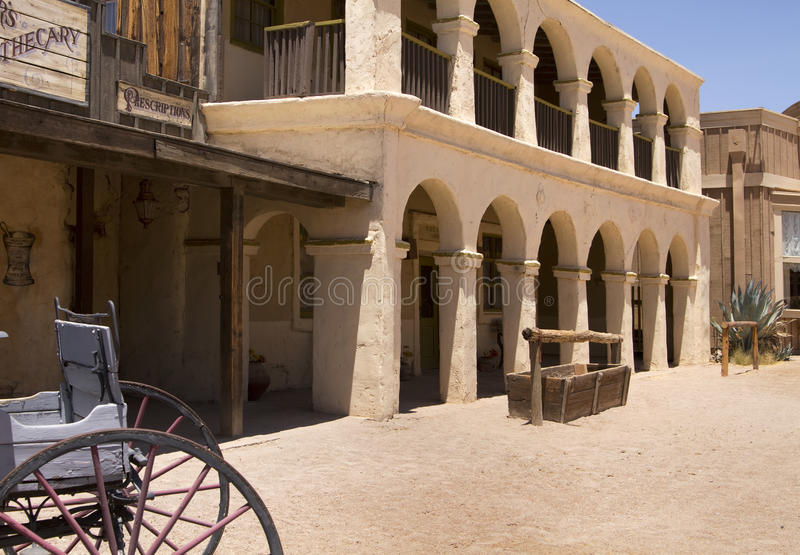 Old Wild West Cowboy Town Bank USA. Rugged old abandoned bank of wild west town in southern Arizona, USA royalty free stock photography