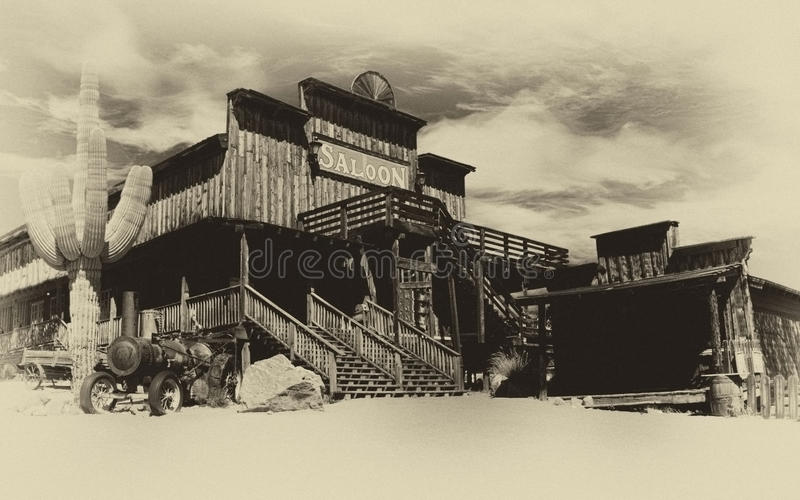 Old Wild West Cowboy Town. Faded old sepia photograph of the old Wild West stock images