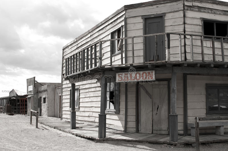 Old Wild West Cowboy Town Saloon USA. Rugged old abandoned wild west town in central Arizona, USA royalty free stock photos