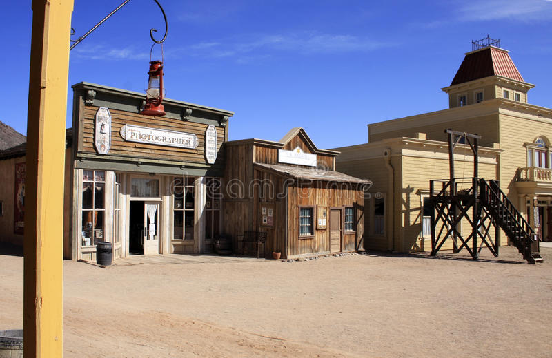 Old Wild West Cowboy Town USA. Rugged old wild west town in central Arizona, USA, as seen from the entrance of the corner saloon royalty free stock images