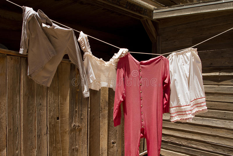 Old Wild West Underwear Laundry Clothesline royalty free stock images