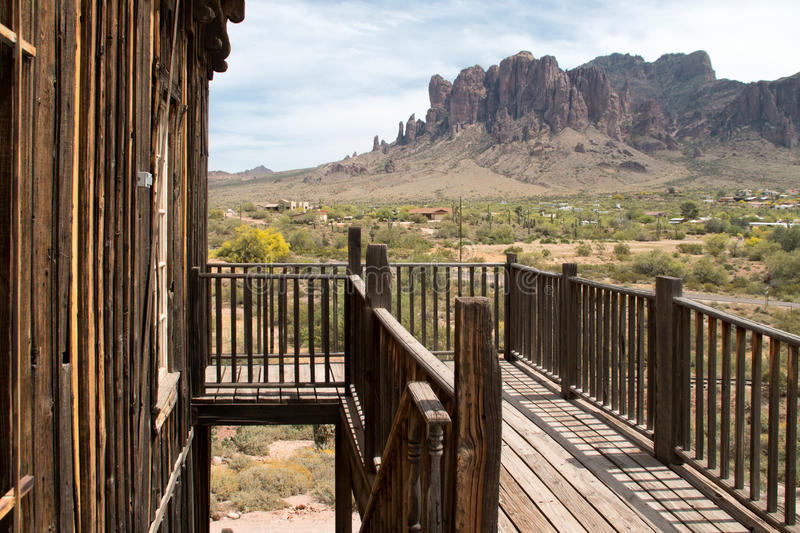 Old Wild West Town Buildings. Crooked old wild west buildings royalty free stock images