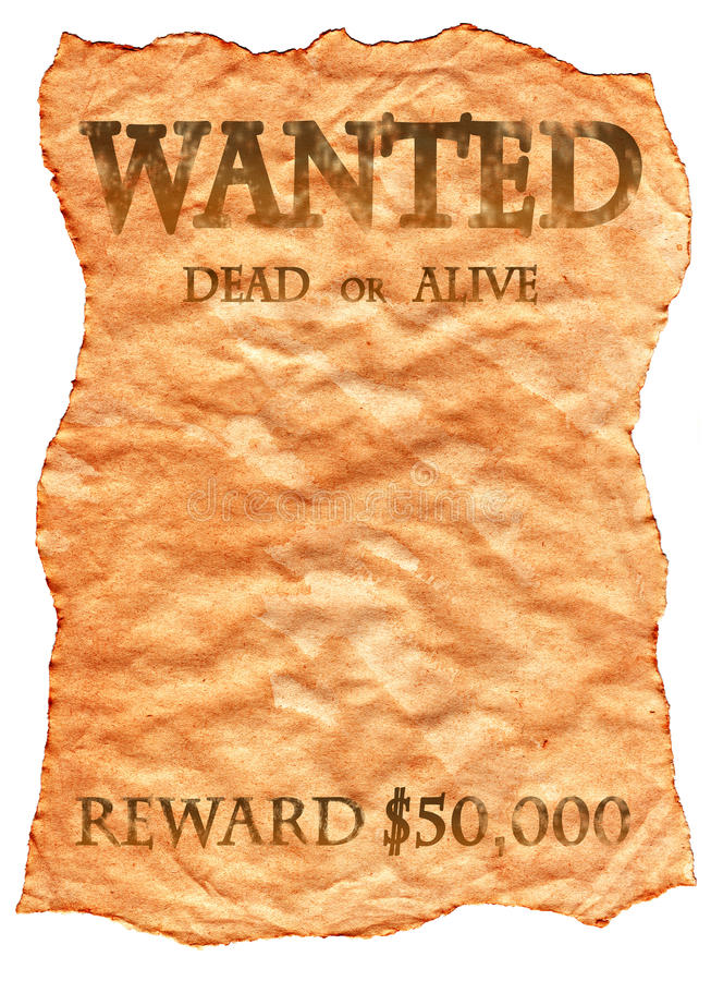 Old Wild West Wanted Poster Stock Photos