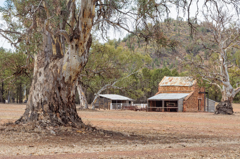 Old Wilpena Station - Wilpena Pound. Early station buildings in an authentic pastoral landscape at Wilpena Pound - Flinders Ranges, SA, Australia stock photography