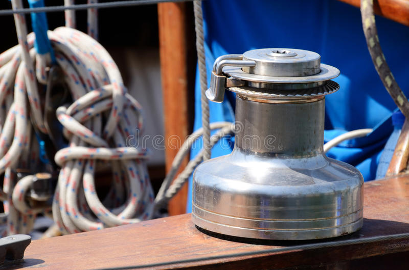 Old winch,sailboat equipment for yacht control royalty free stock photography