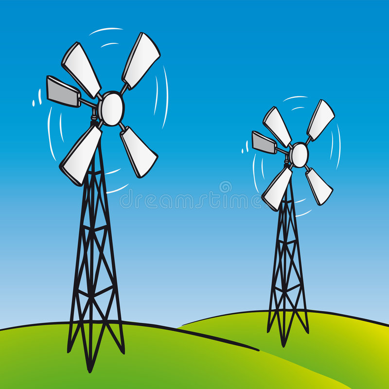 Download Old Wind Turbines (vector) Royalty Free Stock Photo - Image: 7740765