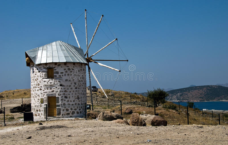 Old windmill. On a hill in Bodrum Turkey stock photography