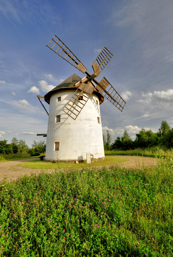 Old windmill. In a dutch countryside in Czech Republic stock images