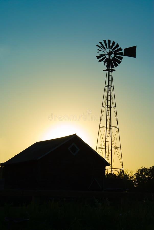 Old Windmill & Farm House stock photo