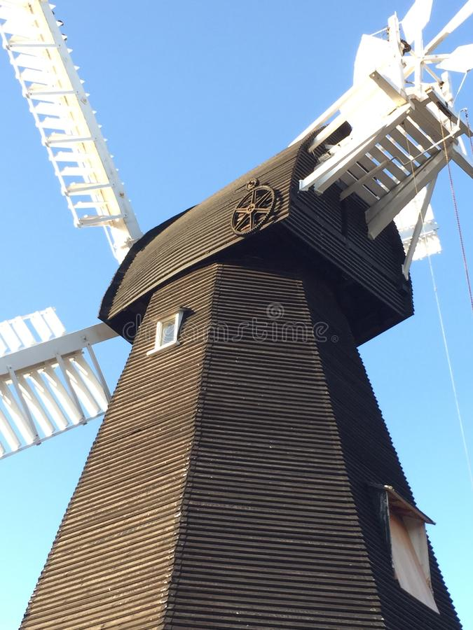 Free Old Windmill In Kent - Black With White Sails Stock Images - 158187814