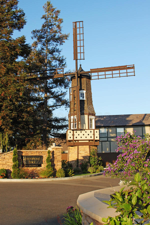 Old Windmill at Kronborg Inn, Solvang California royalty free stock image