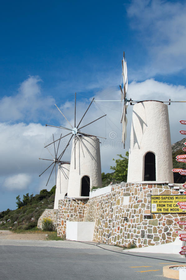 Old windmill on the Lassithi Plateau. On Crete, Greece royalty free stock photography