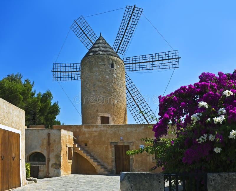 Old windmill, Majorca, Spain. Moli de N'Hereu--old windmill in Felanitx, Mallorca, Spain royalty free stock photos