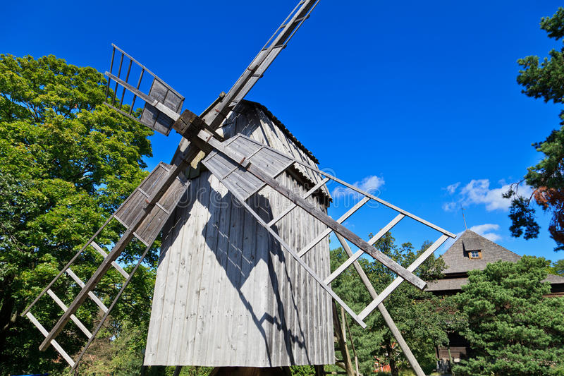Old Windmill in Skansen, Stockholm royalty free stock photography