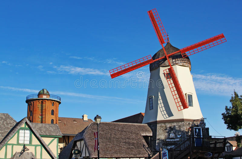 Old Windmill in Solvang California stock images