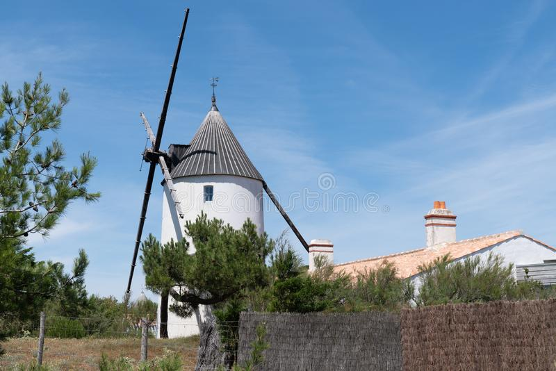 Old windmill typical island of Noirmoutier Vendee France royalty free stock image