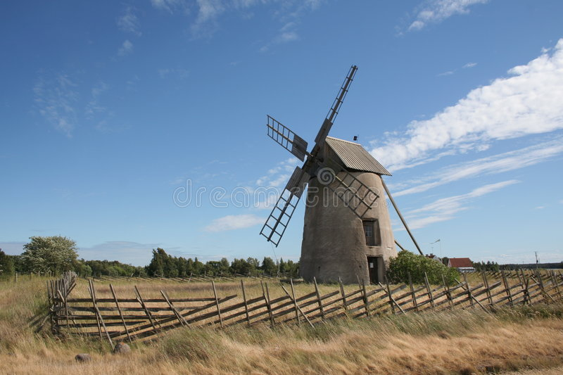 Old windmill in Visby stock photo