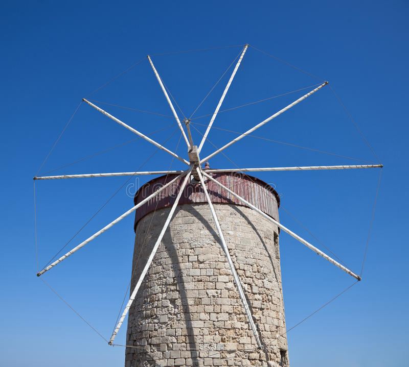 Old Windmills In Mandraki Harbor Rhodes Greece Royalty Free Stock Images