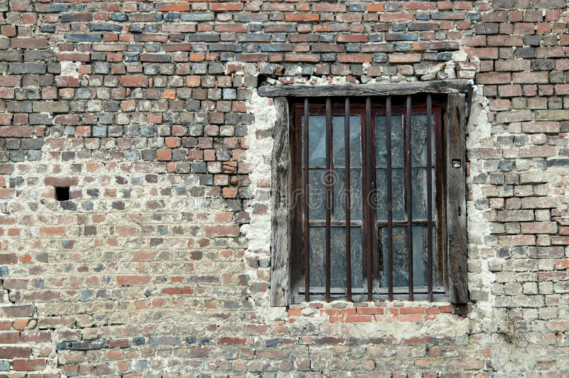 Old window. An old window through a typical wall in a french village (Bresse stock photo