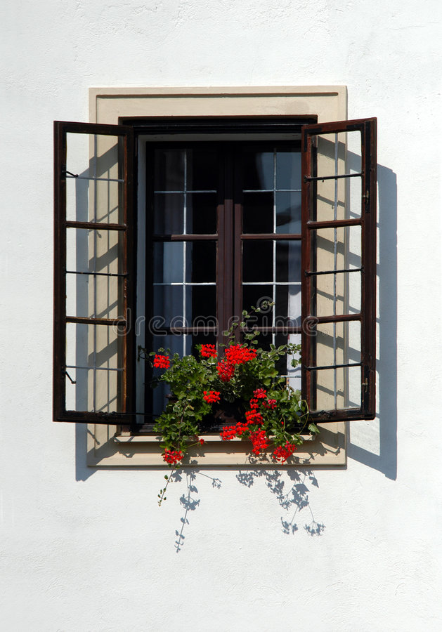 Old Window. Of Bouzov Castle in Moravia, Czech Republic stock photos