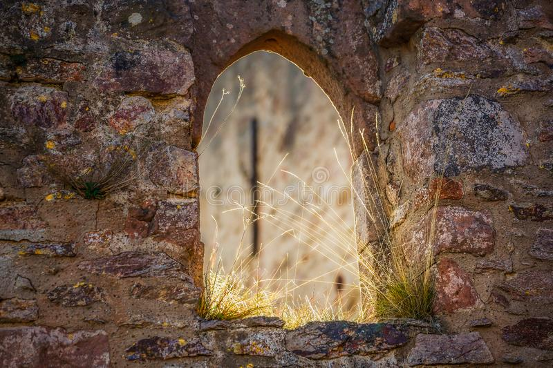 Window in the old castle royalty free stock photos