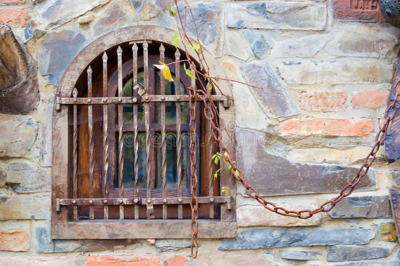 Old window with bars. royalty free stock photos