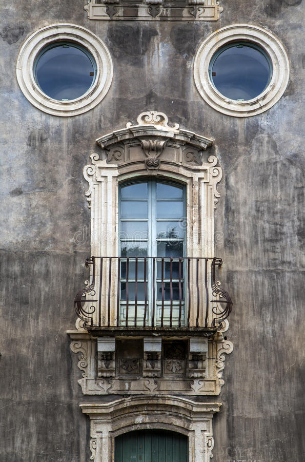 Old window in Catania, Italy stock photography