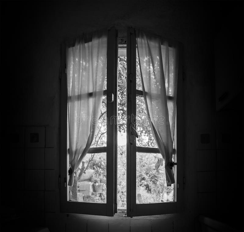 Old Window In A Dark Room Stock Photo. Image Of Ghostlike