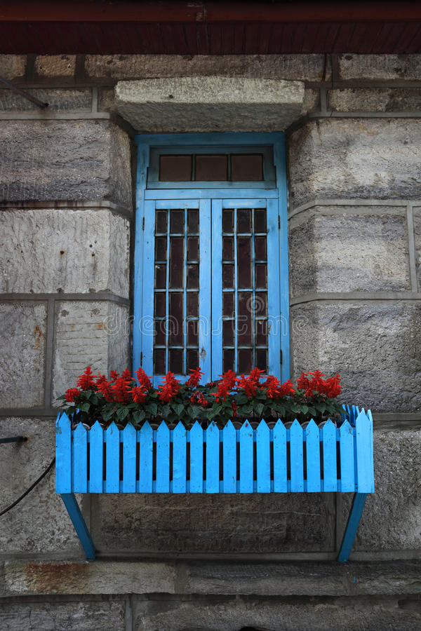 Old window and flowers stock images