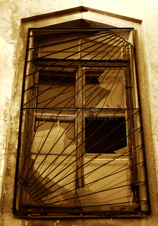 Old window with gratings stock photos
