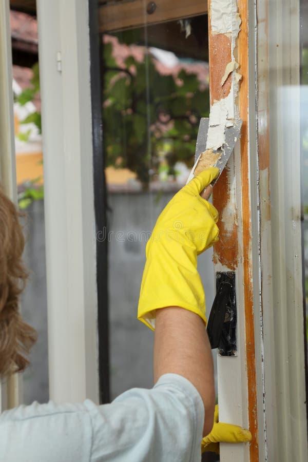 Old Window Restoration Stock Photo