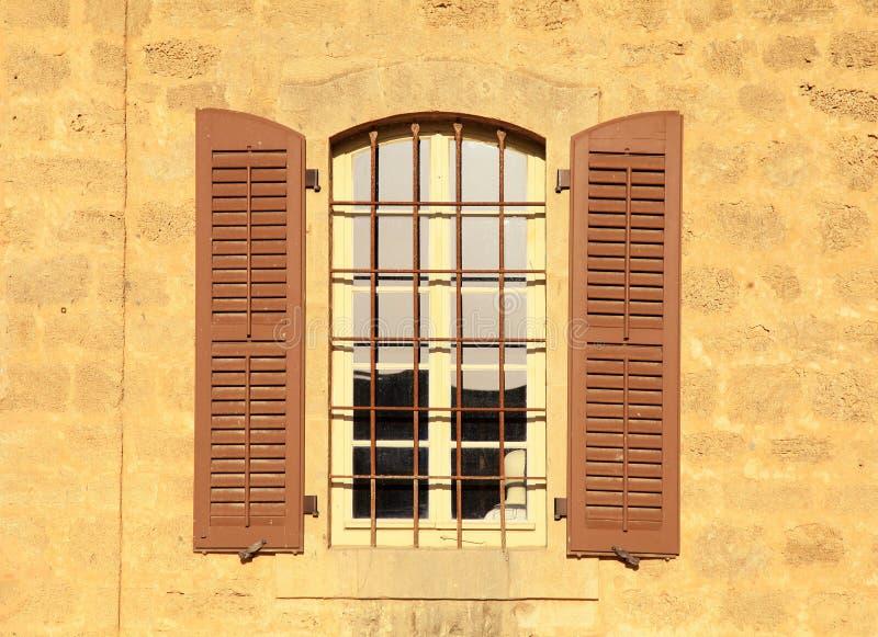 Old window in stone wall, Jaffa, Tel Aviv, Israel. royalty free stock photo