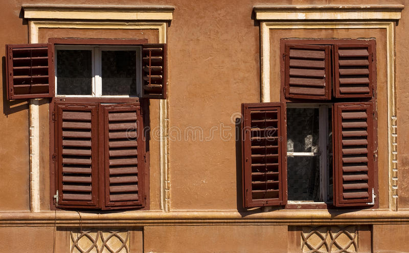 Old windows. Old wood windows in the old city of Sighisoara Romania royalty free stock photos