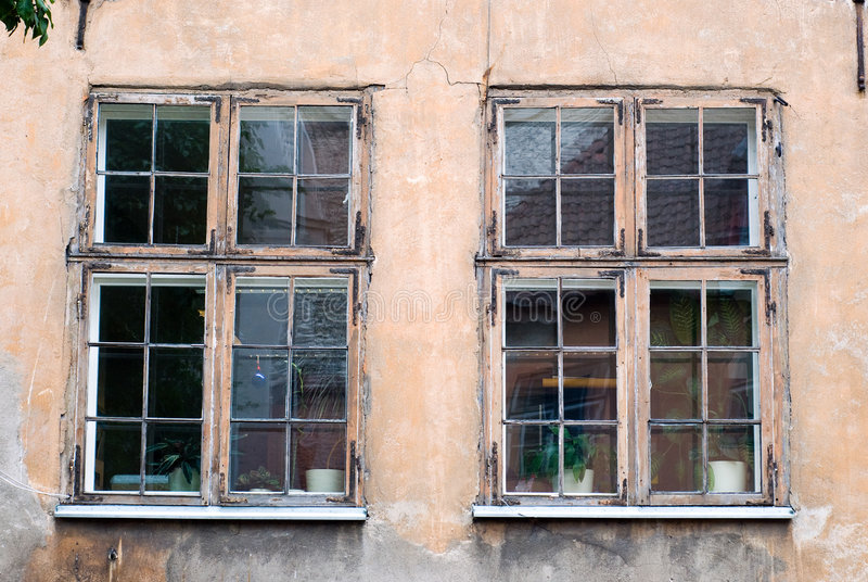 Old Windows. Pair of Old Windows in a Need of Replacement stock photography