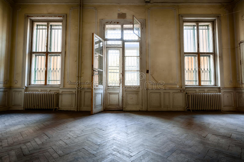 Old windows. In a dilapidated abandoned building stock image