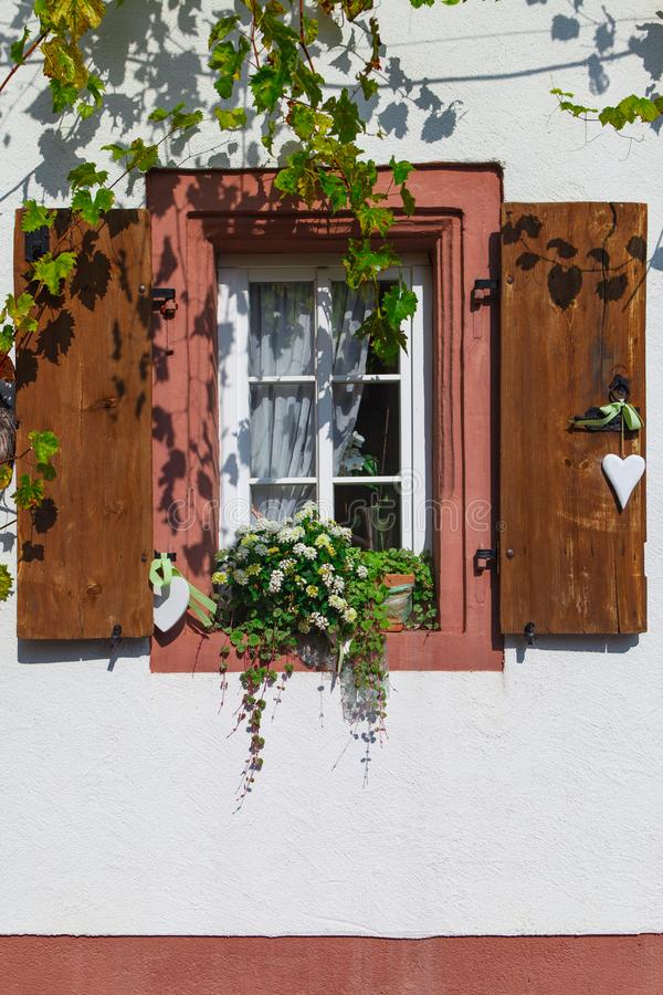 Old windows. Front house with old windows and grapevine in Rheinland Pfalz Germany royalty free stock photography