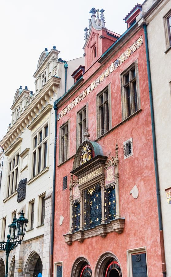 Old windows in Prague, with Gothic Style, in the old town royalty free stock image