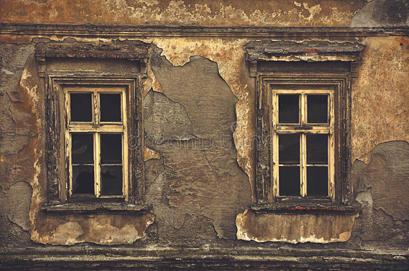 Old Windows Part - 50: Download Old Windows On Ruined House Exterior Wall Stock Photo - Image Of  House, Closed