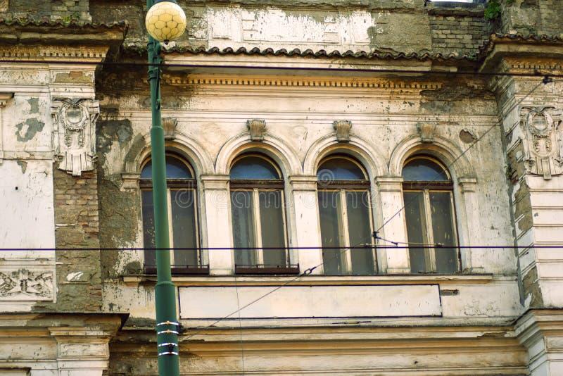 Old windows of ruins in Prague stock photos