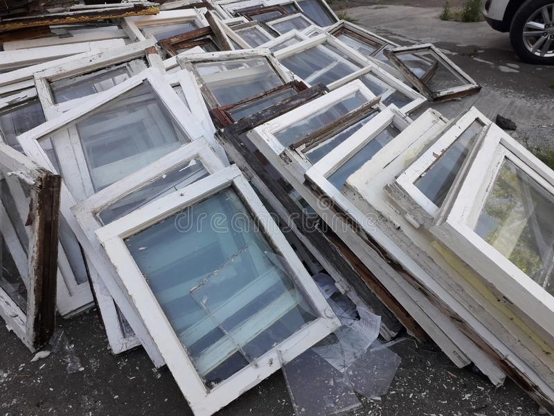 Old windows of wooden frames, dismantled.  royalty free stock photography