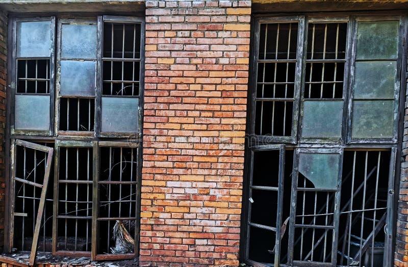 Old windows of workshop. Closeup of old broken windows of workshop in wuhan city, china stock image